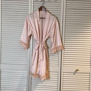 Other - Satin Blush Robe with Lace Trim